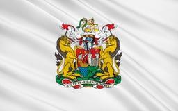 La bandera de Bristol es una ciudad, una autoridad unitaria y un condado, Inglaterra stock de ilustración