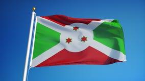 La bandera de Burundi en la cámara lenta inconsútil colocó con alfa libre illustration