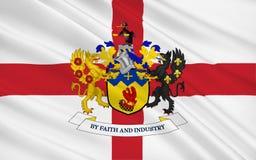 La bandera de la ciudad metropolitana de Knowsley es un borou metropolitano fotos de archivo libres de regalías