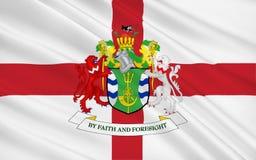 La bandera de la ciudad metropolitana de Wirral es una ciudad metropolitana foto de archivo libre de regalías