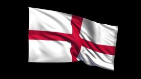 La bandera de colocación inconsútil de Inglaterra que agita en el canal alfa del viento es incluida metrajes