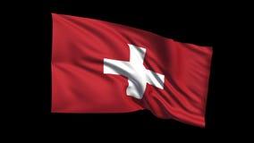 La bandera de colocación inconsútil de la confederación suiza que agita en viento de t Republiche, canal alfa es incluida almacen de metraje de vídeo
