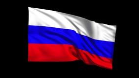 La bandera de colocación inconsútil de la Federación Rusa que agita en viento de t Republiche, canal alfa es incluida metrajes