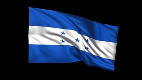 La bandera de colocación inconsútil de la República de Honduras que agita en el viento, canal alfa es incluida almacen de metraje de vídeo
