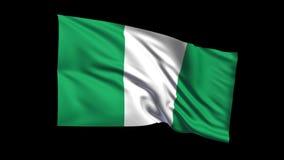 La bandera de colocación inconsútil de la República Federal de Nigeria que agita en viento de t Republiche, canal alfa es incluid almacen de metraje de vídeo