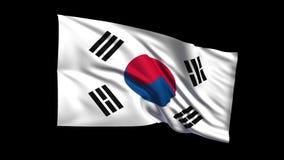 La bandera de colocación inconsútil de República de Corea que agita en viento de t Republiche, canal alfa es incluida metrajes