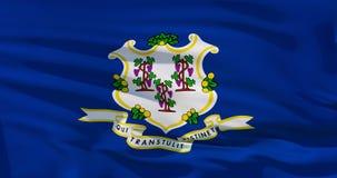 La bandera de Connecticut en la textura de la tela, ejemplo realista 3d cubre el marco entero Detalisation de alta calidad, bueno ilustración del vector