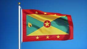 La bandera de Grenada en la cámara lenta inconsútil colocó con alfa ilustración del vector