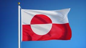 La bandera de Groenlandia en la cámara lenta inconsútil colocó con alfa stock de ilustración