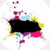 La bandera de Grunge con tinta salpica ilustración del vector