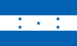 La bandera de Honduras aisló vector en colores y la proporción oficiales Fotos de archivo