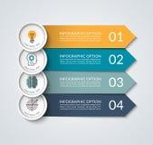 La bandera de Infographic con la flecha y el círculo diseñan elementos stock de ilustración