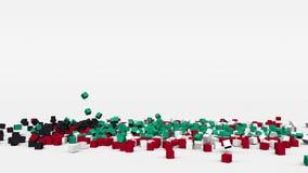 La bandera de Kuwait creó de los cubos 3d en la cámara lenta