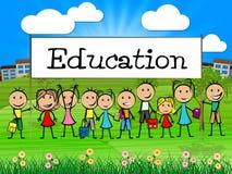 La bandera de la educación representa el niño y la universidad del entrenamiento Foto de archivo libre de regalías