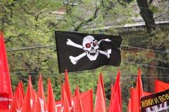 La bandera de los anarquistas Imagen de archivo libre de regalías