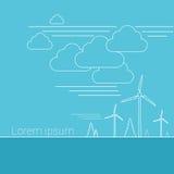 La bandera de los recursos energéticos de alternativa de la turbina de viento enrarece la línea stock de ilustración