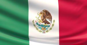 La bandera de México Textura altamente detallada agitada de la tela almacen de video