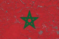 La bandera de Marruecos pintó en la pared sucia agrietada Modelo nacional en superficie del estilo del vintage ilustración del vector