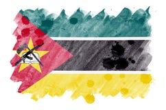 La bandera de Mozambique se representa en estilo líquido de la acuarela aislada en el fondo blanco libre illustration