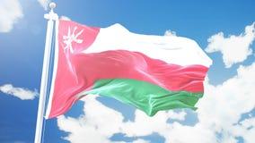 La bandera de Omán que agita contra time lapse se nubla el fondo ilustración del vector
