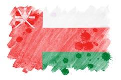 La bandera de Omán se representa en estilo líquido de la acuarela en el fondo blanco libre illustration