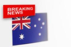 La bandera de país de las noticias de última hora, de Australia y las noticias de la inscripción imágenes de archivo libres de regalías