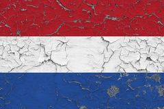 La bandera de Países Bajos pintó en la pared sucia agrietada Modelo nacional en superficie del estilo del vintage stock de ilustración
