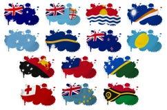 Manchas blancas /negras de la bandera de países de Oceanía stock de ilustración