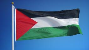 La bandera de Palestina en la cámara lenta inconsútil colocó con alfa metrajes