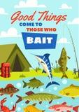 La bandera de la pesca con la captura de pescados y el pescador acampan ilustración del vector