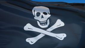 La bandera de pirata en la cámara lenta inconsútil colocó con alfa almacen de metraje de vídeo
