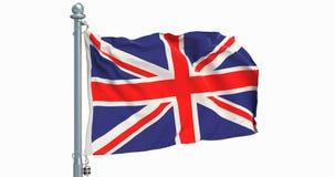 La bandera de Reino Unido que agita en el fondo blanco, animación representación 3d libre illustration