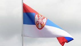 La bandera de Serbia agita en el viento en la cámara lenta almacen de metraje de vídeo