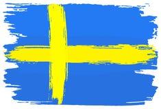 La bandera de Suecia pintó con los movimientos del cepillo ilustración del vector