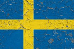 La bandera de Suecia pintó en la pared sucia agrietada Modelo nacional en superficie del estilo del vintage stock de ilustración
