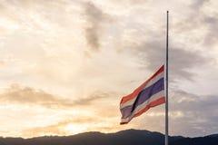 La bandera de Tailandia está de luto Fotografía de archivo libre de regalías