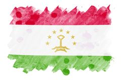 La bandera de Tayikistán se representa en estilo líquido de la acuarela aislada en el fondo blanco stock de ilustración
