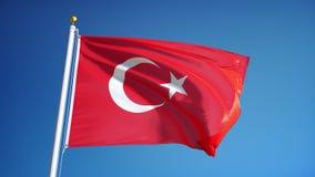 La bandera de Turquía en la cámara lenta inconsútil colocó con alfa