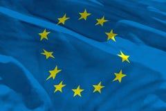 La bandera de unión europea que agita para usar como textura o fondo, la bandera está agitando en el viento stock de ilustración