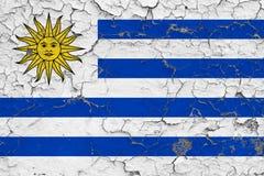La bandera de Uruguay pintó en la pared sucia agrietada Modelo nacional en superficie del estilo del vintage libre illustration