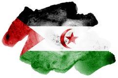 La bandera de Western Sahara se representa en estilo líquido de la acuarela aislada en el fondo blanco libre illustration
