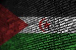 La bandera de Western Sahara se representa en la pantalla con el código de programa El concepto de desarrollo moderno de la tecno ilustración del vector