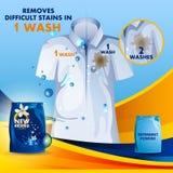 La bandera del anuncio del removedor de la mancha y de la suciedad pulveriza el detergente para ropa para el paño limpio y fresco Fotografía de archivo libre de regalías