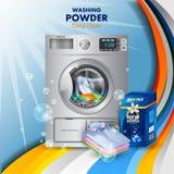 La bandera del anuncio del removedor de la mancha y de la suciedad pulveriza el detergente para ropa para el paño limpio y fresco Imágenes de archivo libres de regalías
