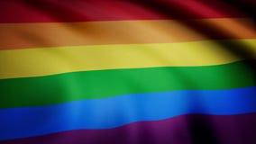 La bandera del arco iris del orgullo gay que agita en la cámara lenta, inconsútil colocada, cierre para arriba, aislada en el can ilustración del vector