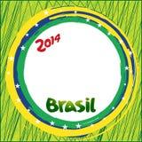 La bandera del Brasil colorea y protagoniza el fondo stock de ilustración