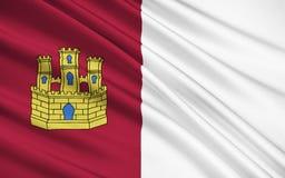 La bandera del Castilla-La Mancha, España ilustración del vector