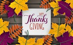 La bandera del Día de Acción de Gracias, el árbol colorido de papel se va en fondo de madera Diseño del otoño, para el cartel de  Fotos de archivo