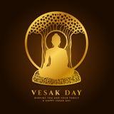 La bandera del día de Vesak con el oro Buda medita debajo del árbol de Bodhi en diseño del vector de la muestra del marco del cír stock de ilustración