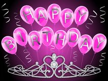 La bandera del feliz cumpleaños con los globos rosados y los diamantes coronan para las muchachas ilustración del vector